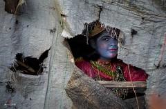 The Mischievous Krishna !!! (Sankalan786) Tags: blue india heritage festival eyes village expression innocence peek tradition krishna kolkata rugged portrai 2015 gajan charak kalna sankalan krishnadevpur sankalanbanikphotography