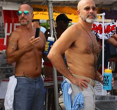 """Men  at Stonewall Festival with pet Daffy Duck. """"Improved"""" (LarryJay99 ) Tags: shirtless two hairy male men guy face sunglasses glasses back hands couple nipples arms faces florida masculine chest manly rear fingers profile caps bald beards glbt guys tattoos dude jeans males facialhair dudes nips ftlauderdale stud studs psa navels bellies nape tatts cargos wiltonmanors goatees virile efs60mmf28macrousm malegay ilobsterit"""