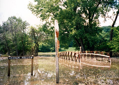 Mississippi Flood Graham Hollow (Jae at Wits End) Tags: road bridge trees plant tree nature water sign architecture writing river underwater message flood outdoor text structure stop signage infrastructure mississippiriver swamped signboard waterway watercourse washedout flooded