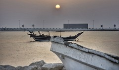 Sunset by the shore 2 (mahdirafiey) Tags: sunset sea sun water boat bahrain nikon dhow d800 muharraq
