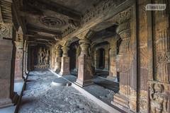Engraved statue of Vishnu in Cave No. 3 (Vinda Kare) Tags: india ancient karnataka badami temple caves vatapi bagalkot vishnu rockcarving sandstone architecture