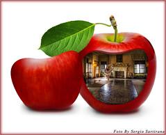 Senza titolo # 7 (celestino2011) Tags: 123rf mela castello salone ballerina photomanipulation maçã apple surrealart surrealismo
