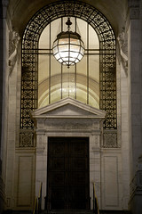 NYC Public Library (charlottehathawayfeatherstone) Tags: new york architecture buildings arch vault city library door window light night