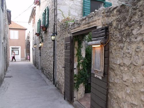 Narrow street in Biograd na Moru, Croatia