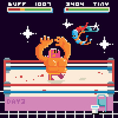 Day 3: Luchador Smackdown (This 'n That) Tags: luchador wrestling pixel sprite 8bit nes nintendo videogame video game fight chair fighting pro