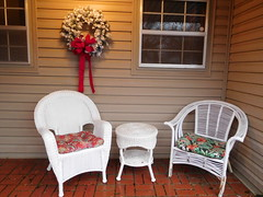 Front Porch (danieljsf) Tags: furniture patiofurniture front home porch patio house southaven mississippi white wreath christmas xmas