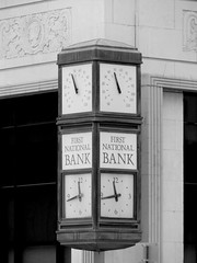 The First National Bank and Trust in Chickasha, Oklahoma (kevinellison62) Tags: blackwhite firstnationalbankandtrust artdeco architecture building oldbuilding chickasha oklahoma clocks clock time bank