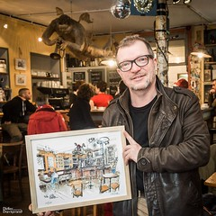 Café du Boulevard, Melle, février 2017 (Croctoo) Tags: expo croctoo croctoofr aquarelle croquis crayon boutiques cafés librairies épicerie couture patisserie fromagerie mercerie