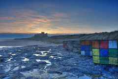 Rubik's on the beach. (paul downing) Tags: pauldowning pd1001 pauldowningphotography nikon d7200 bamburgh northumberland sunrise castle beach northsea rubikscube dice hitech gnd 12 filters