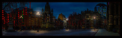 Albert Square, Manchester (Kevin, from Manchester) Tags: architecture building canon1100d canon1855mm citycentre england hdr lancashire manchester northwest outdoor photoborder manchestertownhall square panorama panoramic night lights lanterns
