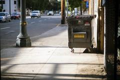 Dumpster (Curtis Gregory Perry) Tags: oregon dumpster portland garbage nikon 85mm bin sidewalk waste refuse recycling d800e