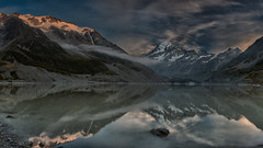 Moody Mt Cook (RoosterMan64) Tags: newzealand panorama mountain lake mountains reflection sunrise reflections panoramic mtcook hookervalley hookerlake