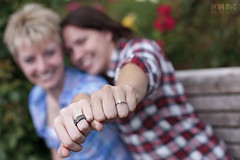 Fist Bump The Bling (Ian Sane) Tags: park camera two portrait test liz cute rose oregon canon garden bench portland lens ian eos this is photo washington engagement shoot mark f14 images international rings ii fist 5d hi lacey usm bling really bump sane the ef50mm