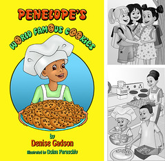 Penelope's world famous cookies (doinaparas) Tags: africanamericanchildren childrenandpeople childrenblackwhiteillustrations