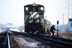 Bending the Iron (view2share) Tags: railroad winter snow cold minnesota train work switch spur track transport working tracks engine minneapolis rail railway rr trains bn sierra signals transportation rails sw locomotive local 1994 february switches mn gmc freight railroaders conductor railroads sidetrack trainman switcher freighttrain switching truck1 burlingtonnorthern mainline railroading emd freightcars gmcsierra freightcar february1994 rring trackage sw1000 electromotivedivision cascadegreen switchstand stpaulsub parkjct 1986gmc 1986gmcsierra deansauvola bn309 february171994