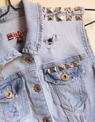 Women's Small Distressed and Studded Denim Vest (shopthegasstation) Tags: school ladies fall college rock metal clothing coat ripped hipster womens holes clothes jeans jacket rocker beat denim biker vest etsy pocket distressed destroyed stud backtoschool studs frayed sleeveless studded girs faed