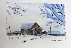 "NewYouTube Video ""Winter Scene"" Sketching on Pre-painted Paper (Peter Sheeler) Tags: penandink painting simple wash easy draw tutorial howto help tips tricks beginner watercolour watercolor penandwash lineandwash drawing peter sheeler fun quick sketch sheelerart englishsubtitles shadows urbansketch waterbrush lamy higgins pigma rural barn farm snow winter"