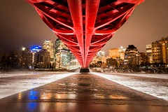 The Trolls Have Gone South for the Winter (jim.wittstrom) Tags: d700 nikon wideangle red architecture landscape buildings downtown night bowriver winter peacebridge calgary