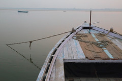 Ganges Morning (peterkelly) Tags: digital canon 6d india asia varanasi gangesriver anchor rope blue water morning pink calm wooden bow boat mist gadventures essentialindia uttarpradesh