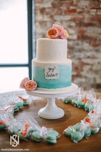 Bridal Shower Painted Cake and Macarons