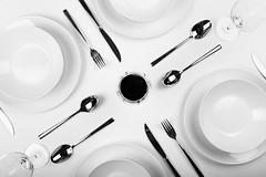 bon appetit (*Chris van Dolleweerd*) Tags: diner table knolling pov bw studio strobist chrisvandolleweerd wine food plate fork spoon glass wineglass dinertable