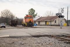The Freight Platform (ajketh) Tags: atw aw atlantic wester genessee wyoming im illinois midland emd rs1325 rare gondola scrap branch spur interchange sanford nc north carolina freight platform depot
