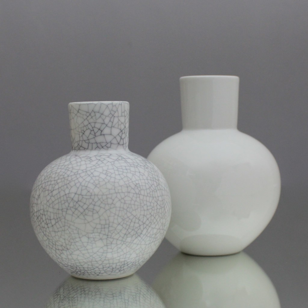 Eitelkeit Vase Grau Dekoration Von Kpm, Berlin, Vase, Kolben, Kolbenvase, Blumenvase, Craquelee,