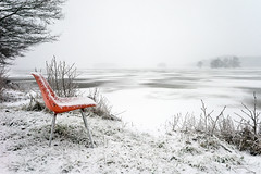 Ringside Seat – Sony A7r (magnus.joensson) Tags: sweden swedish skåne svedala winter snow snowing lake chair red empty sony a7r zeiss loxia 21mm digital landscape white lotec
