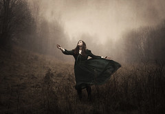 All Out Of Reach (Maren Klemp) Tags: fineartphotography fineartphotographer conceptual color selfportrait portrait ethereal dreamy surreal reaching woman fields fairytale storytelling dress movement painterly outdoors nature foggy