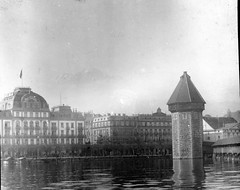 Luzerne, Switzerland - Kapellbrücke at right (foundin_a_attic) Tags: antique magic lantern slides glass vintage tiver hotel lae dulag fashion luzerne switzerlandkapellbrückeatright