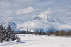 Oxbow In The Winter (Amy Hudechek (Happy Photographer)) Tags: oxbowbend grand teton national park gtnp tracks snow winter clouds nature wyoming amy hudechek cold freezing