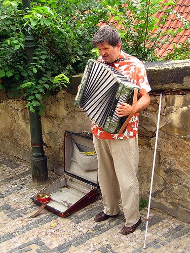 Blind accordionist