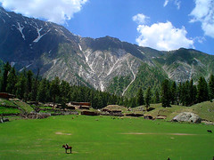 Fairy Meadows (meansmuchtome) Tags: blue trees houses pakistan white snow green ice beautiful pine clouds scenery asia glacier kashmir northernareas motels spectular fairymeadows