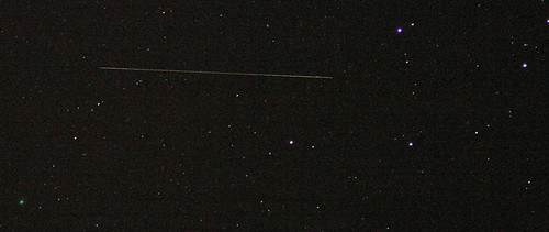 Comet Pojmanski Plus Probable Satellite Trail