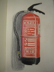 Fire extinguisher (Digital Owl) Tags: red moleskine fire sketch drawing extinguisher colorpencil sonydsct33 mge digitalowl digiowl