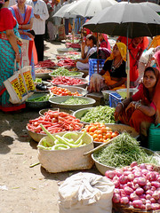 Kuchaman Market (2) (Lazy B) Tags: india frutas vegetables women market 2006 mercado colourful february fz5 indianarchive rajasthan saris vegetales sunshades kuchaman