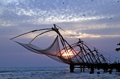 Fishing net sunset