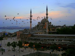 Sunset Flight over the Mosque (melodrama) Tags: sunset birds topv111 30 turkey restaurant flight istanbul mosque turkish mosques bosphorous hamdi yenicamii newmosque topvaa sulemaniye thenewmosque validecami hamdirestaurant