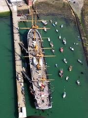 HMS Warrior Portsmouth - 9- 060406 (Max Montagut) Tags: 2006 portsmouth spinnakertower april spinnaker hmsvictory hmswarrior