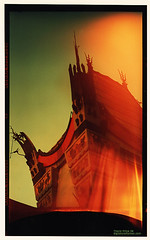 Chinese Theater (etravus) Tags: california ca old travel red vacation cinema building green slr film tourism losangeles interestingness saturated hands flickr tour away landmark historic adventure lightleak socal fantasy hollywood travis movies destination 6x9 hollywoodblvd chinois rectangle oldcamera graflex chinesetheater graumanschinesetheatre travisprice etravus