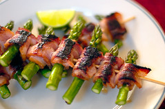 Bacon Wrapped Asparagus (disneymike) Tags: california food bacon nikon d2x asparagus lime nikkor grilled culinaryart skewers murrieta 50mmf14d baconwrappedasparagus baconwrappedasparagusskewers