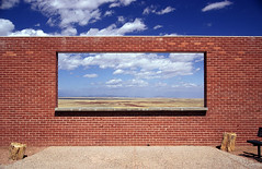 meteor crater, az. 1999. (eyetwist) Tags: road arizona usa southwest window wall analog america 35mm landscape route66 nikon view desert bricks mother wideangle 123 roadtrip 1999 ishootfilm 66 route velvia brickwall crater impact vista americana lonely analogue roadside overlook fujichrome meteor asteroid meteorcrater winslow rvp lonelyobjects n90s rt66 motherroad us66 eyetwist ishootfuji top20mn contactforstockusage thisimagemaybeavailableforlicensecontactformoreinfo