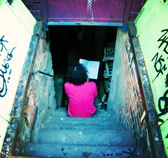 Reading Well (moriza) Tags: city nyc newyorkcity pink newyork reading stair alone lowereastside basement 100v10f mo solitary printed bigapple mohammad moriza riza lonefigure studio227 modomatic