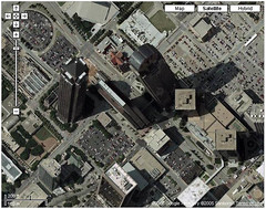 Google Maps Oddity (Si1very) Tags: strange skyscraper weird dallas google googlemaps skyscrapers satellite oddity leaningtower timewarp mcescher curvedspace keyrelevance eschereffect
