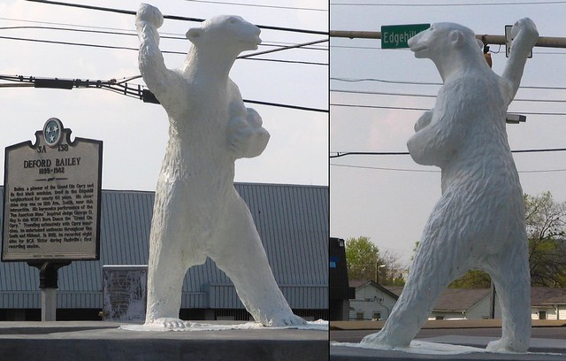 Polar Bear Statue Snowball Fight