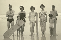 At the Beach (tara holland) Tags: uk family england beach vintage seaside cornwall explore 1940s 1950s surfboard masters oldfamilyphotos top20op explored