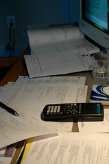 Homework Zone (crysb) Tags: desktop computer paper desk monitor papers calculator homework calculus ti83 schoolwork