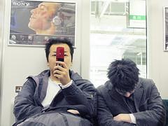 The JR Yamanote line and the passengers (Chris Kutschera) Tags: mobile japan train tokyo portable transport passenger sleeper yamanoteline dormeur