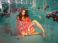 Crimson Kimono (Elena777) Tags: seattle city reflection mannequin window fashion interestingness downtown mannequins display nordstrom interestingness470 i500 explore19april2006