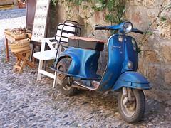 blue vespa (t56guy) Tags: blue sun bike greek rust ruins mediterranean vespa scooter greece moped rodos rhodes lindos motorcyle greek ruins